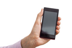 Black smartphone holding Royalty Free Stock Photos