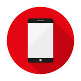 Black Smartphone with long shadow. Vector illustration Royalty Free Stock Image