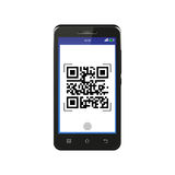 Black smartphone scanning QR code. Isolated on white background Stock Photography
