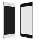 Black Smartphone & White Smartphone with big screen stock photography