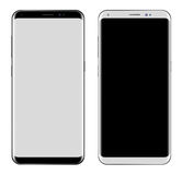 Black Smartphone & White Smartphone with big screen isolated Royalty Free Stock Photography