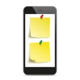 Black Smartphone Yellow Stickers Mockup Stock Photos