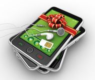 Black smartphones and earphones - 3D render Royalty Free Stock Photography