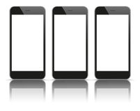 3 Black Smartphones Mirror Mockup. 3 black smartphones with blank screens and shadows on the white background Stock Photos