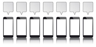 7 Black Smartphones Quadratic Speech Bubbles. 7 black smartphones with blank screens and speech bubbles on the white background Stock Image