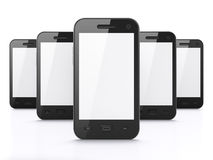 Black smartphones on white background, 3d render. Black smart phones on white background, 3d render. Just place your images on the screens Royalty Free Stock Photo