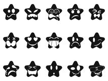 Black smileys stars set Stock Photography