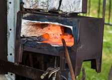 Black Smith Oven Stock Photo