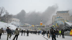 Black smog in the city center, Euro maidan meeting in Kiev, Ukraine,. KIEV - JAN 22: Black smog in the city center during Euro maidan meeting in Kiev, Ukraine on stock video footage