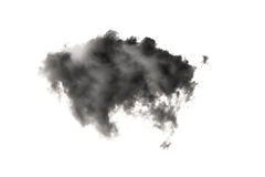 Black smoke and cloud isolated on white Royalty Free Stock Photo