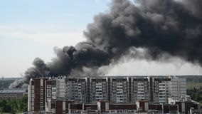 Black smoke from a major fire in Moscow, Russia stock video footage