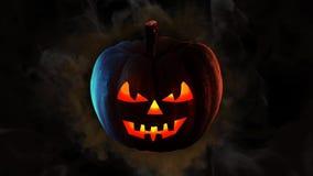 Black smoke pumpkin happy halloween 4K Loop
