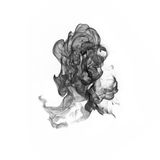 Black smoke on a white background. Royalty Free Stock Images