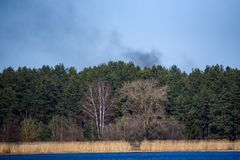 Smokes over lake and forest,. Black smokes over the lake and forest Stock Photo