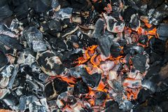 Black Smoldering Coals Fire Bonfire Texture Background Royalty Free Stock Photography