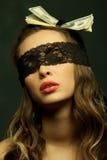 black snör åt den openwork sexiga kvinnan royaltyfri foto