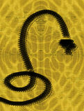 Hypnotic  Snake. Representation of an Imaginary Mythological Black Snake Stock Photo