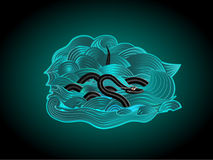 Black snake in a wavy sea. This is file of EPS10 format Stock Image