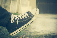 Black sneakers Stock Photo