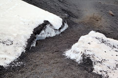 Black snow and volcanic ash at Etna volcano. Royalty Free Stock Photo
