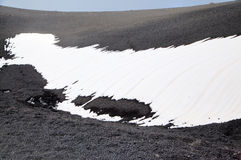 Black snow and volcanic ash at Etna volcano. Royalty Free Stock Image