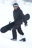 Black snowboarder. Snowboarder Royalty Free Stock Image