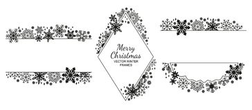 Free Black Snowflake Frame Set, Christmas Collection Royalty Free Stock Photo - 130178625