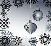 Black snowflakes with baubles Stock Photos