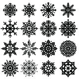 Black snowflakes big set of different variations  Royalty Free Stock Images