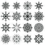 Black snowflakes big set of different variations Stock Image