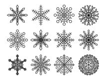 Black snowflakes collection isolated on white background. Flat snow icons set. Element for christmas calendar, invitation stock illustration