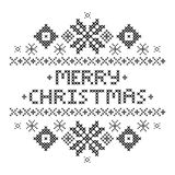 Black snowflakes. Happy New year 2017. Merry Christmas Postcard . Cross-stitch. Traditional embroidery ornament. Black snowflakes. Happy New year 2017. Vector stock illustration