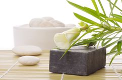 Black soap with flower Royalty Free Stock Images
