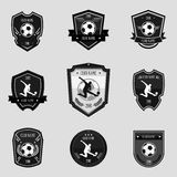 Black soccer emblems. Collections set on gray background Royalty Free Stock Photos
