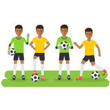 Black soccer sport athletes. Football goalkeeper playing, kicking, training and practicing football. Flat design people characters Stock Image