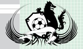 Black Soccer wolf crest coat of arms background. Heraldic soccer wolf crest coat of arms background in vector format very easy to edit Stock Image