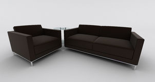 Black sofa and armchair Stock Photography