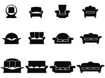 Black sofa icons set Stock Photos