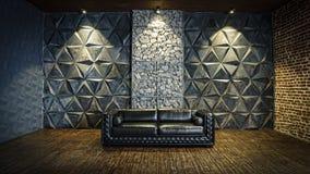 Black  sofa, leather sofa, mystical interior, Halloween, masquerade, carnival,Modern design, empty, interior. Black leather sofa in the mystical interior stock photography
