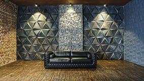 Black  sofa, leather sofa, mystical interior, Halloween, masquerade, carnival,Modern design, empty, interior. Black leather sofa in the mystical interior stock image