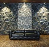 Black  sofa, leather sofa, mystical interior, Halloween, masquerade, carnival,Modern design, empty, interior. Black leather sofa in the mystical interior royalty free stock images