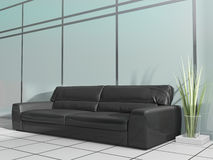 Black sofa in modern interior. Place for rest in modern office, 3d rendering Royalty Free Stock Images