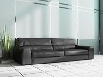 Black sofa in modern interior. Place for rest in modern office, 3d rendering Royalty Free Stock Image