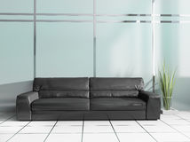 Black sofa in modern interior. Place for rest in modern office, 3d rendering Royalty Free Stock Photo