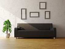 Black sofa near the wall Stock Photography