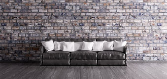 Black sofa over the brick wall 3d render Royalty Free Stock Photography