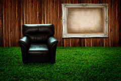 Black sofa and picture frame Stock Photo
