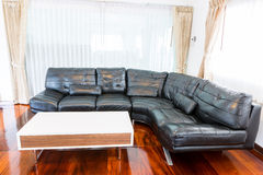 Black sofa in room Stock Photos