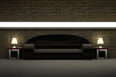 Black sofa in the room with brick wall Stock Photo