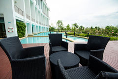 Black sofa set put near outdoor pool. Royalty Free Stock Photo